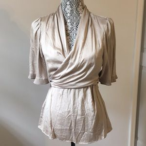 Shimmery Taupe 3/4 Sleeve Wrap Blouse